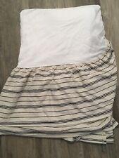 Ralph Lauren Queen Sz Dust Ruffle Horizontal Ticking Stripe Textured Black Ivory