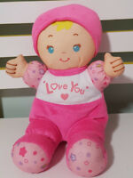 VTECH PINK LOVE YOU BABY DOLL PLUSH TOY! SOFT TOY ABOUT 23CM SEATED KIDS TOY!