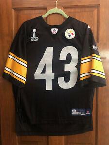 Pittsburgh Steelers Super Bowl XLV #43 TROY POLAMALU NFL Onfield Reebok Jersey M