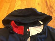VTG 90's Tommy Hilfiger Jacket Full Zip Lined Roll Roll Up Hood Hooded XL RARE
