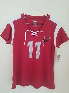 New NFL Team Apparel Arizona Cardinals #11 Larry Fitzgeral V-Neck Shirt Womens