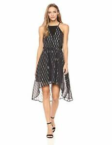 GUESS NWT Elegance Black and Gold Foiled Taffeta Hi Low Cocktail Dress size 4