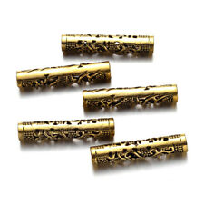 10 Tibetan Alloy Filigree Tube Metal Beads Hollow Loose Spacer Antique Gold 36mm