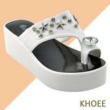 Khoee 6608 White Women's Sexy High Heels Flip Flop Slippers Wedge Platform