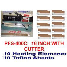 "16"" PFS400C Hand Impulse Sealer With Cutter +10 Heating Element +10 Teflon Sheet"