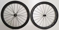 STRADALLI CARBON FIBER CLINCHER ROAD BICYCLE BIKE WHEELSET 50mm MATTE BLACK PAIR