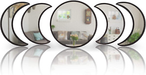 5Pcs Nordic Style Mirror Wooden Decorative Moon Phase Acrylic Home Decor