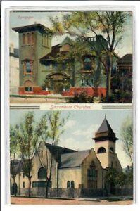 Judaica USA Old Postcard Jewish Synagogue Sacramento California