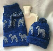 More details for bedlington terrier dog on new knitted hat & hot water bottle with cover