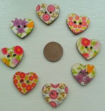 8 X HEART SHAPED WOODEN MAGNETS FLOWERS SET 3 - FRIDGE NOTICE GIFT