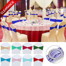 25/50/100 Spandex Stretch Wedding Chair Cover Bow Band Sashes With Buckle Slider
