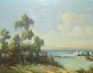 1950 Peter Raymond Drew California Artist Santa Barbara Seascape Impressionist