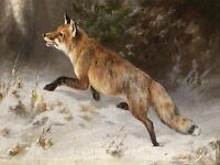 PAINTING EXTERIOR STUDY GRASHEY FOX WINTER FOREST ART PRINT POSTER LF453