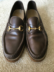GUCCI Loafers-Slip Ons-Made in ITALY-Leather-Brown-Vibram Sole