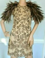 Valentino Feather Bead Embellished Cape Shoulder Cocktail Dress US 2 4 / IT 40