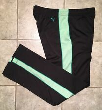 PUMA * Mens  BLACK / GREEN Athletic / Work-out Pants * Size M