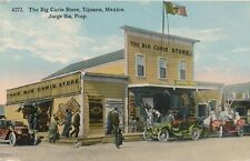 c1915 Tijuana Mexico Big Curio Store, Old Autos, Roadsters, Rugs Tinted Postcard