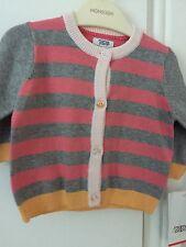 Mamas & Papas Baby Girl cardigan 0-3 months striped pink grey yellow. Pretty