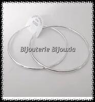 Boucles D'oreilles Créoles Rondes 6cm Argent Massif 925/1000 Bijoux Femme