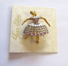 Pin/Brooch -BALLERINA - gold color-  silver dress with pink sparkly stones