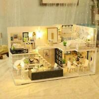 DIY Dollhouse Miniature Furniture 3D Wooden LED Dollhouse Toys For Children A4T3