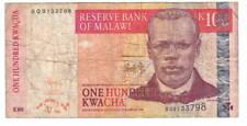 MALAWI 100 Kwacha VF Banknote (2009) P-54b Prefix BQ Paper Money