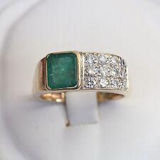 ART DECO SOLID 14K GOLD 1.34 tcw EMERALD 0.48 tcw DIAMOND RING, 5.8 gms, sz 7.25
