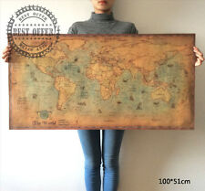 Large Poster Navigation Retro Paper World Map globe earth Wall Home Decor A3
