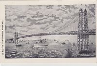 Vintage New York & Williamsburg Bridge with ships, vintage postcard c1903