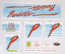 Officially licensed 1985 Schwinn Predator NIGHTHAWK BMX decal sticker set