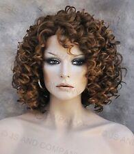 Short Corkstrew Human Hair Blend wig Brown Auburn Mix Heat Safe mel 27/4/30