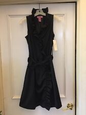 Eliza J   New York Black  Satin Ruffle Belted Bow Cocktail Dress Sz 8 NWT