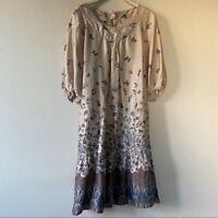 Gerard Darel Women's Beige Blue Floral Printed Silk Swing Dress Small