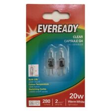 4x G4 20W Watt EVEREADY G4 DIMMABLE ECO HALOGEN LIGHT BULBS LAMPS CAPSULES UK