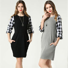 Checked 3/4 Sleeve Tunic Dresses for Women