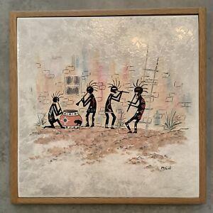 """Ceramic Tile Art """"Tribal Dance"""" Mural Southwest Kokopelli Signed 12"""" Framed"""