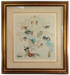Norman Rockwell Family Tree Signed Autograph Circle Lithograph Artist Print