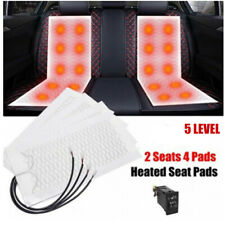 4 Pads Universal Carbon Fiber Car Heated Seat Heater Kit w/Round Switch 5 level