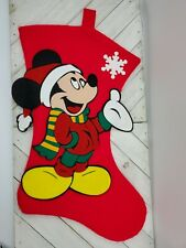 MICKEY MOUSE HOLDING A PRESENT FELT CHRISTMAS STOCKING