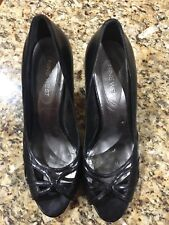 "Nine West Black Leather Open-toe ""Inticeo"" Heel Size 8M"