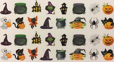 Nail Art Water Decals Halloween Scary Witch Hat Ghost Spider Black Cat Pumpkin