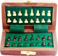 5'' Wooden Magnet Chess Set Chessman Wit Magnetic Folding Board Gifts Christmas