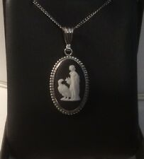 AUTHENTIC Black & White ENGLISH WEDGWOOD PENDANT set into STERLING SILVER