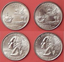 Brilliant Uncirculated 2004 P & D US Florida 25 Cents From Mint's Rolls