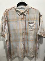Tommy Bahama Mens Button Front Shirt 2XB 2XL 100% Silk Striped Short Sleeve