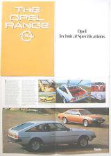 Opel Kadett Ascona Manta Rekord Commodore Monza Senator 1980-81 UK Brochure