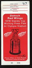 1978 NHL Hockey Stanley Cup Playoffs at Detroit Red Wings Press Pass