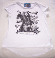 Pirates Of The Caribbean Ladies White Printed T Shirt Size Xs New