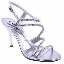 Ladies Womens Prom Bridal Evening Party Diamante Glitter Strappy Sandals Size
