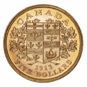 1913 $5 Hand-Selected Gold Coin Canada's First Gold Coins  w/ Box & Papers